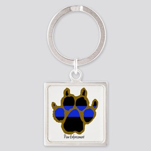 Brown Thin Blue Line Paw Enforceme Square Keychain