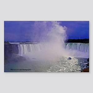 Horseshoe Falls And Boat Sticker (Rectangle)