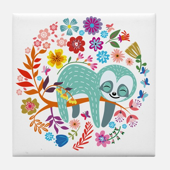 Cute Sloth Tile Coaster