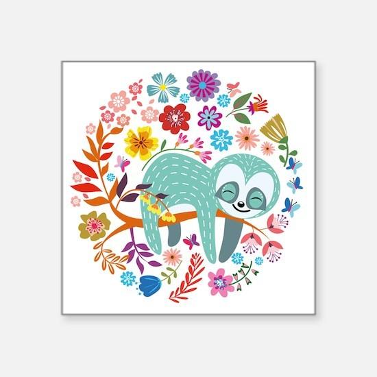 """Cute Sloth Square Sticker 3"""" x 3"""""""