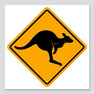 "Kangaroo Sign A2 copy Square Car Magnet 3"" x 3"""