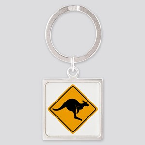 Kangaroo Sign A2 copy Square Keychain