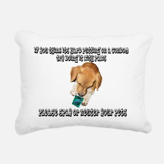 if you think a condom2 Rectangular Canvas Pillow