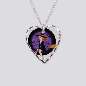 Red Headed Witch Necklace Heart Charm
