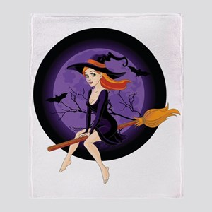 Red Headed Witch Throw Blanket