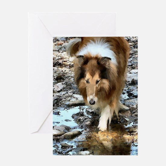 Sable Rough Collie Art  Greeting Card