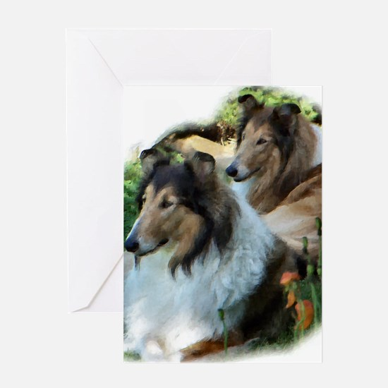 Two Sable Rough Colies Greeting Card