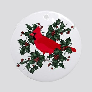 holly berries red cardinals ornament round