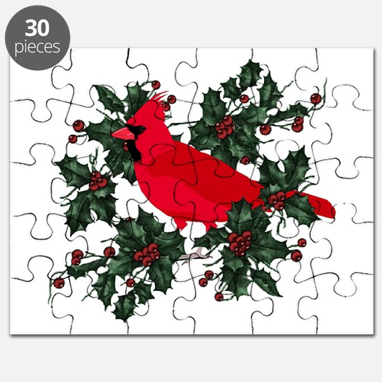 Holly Berries & Red Cardinals Puzzle