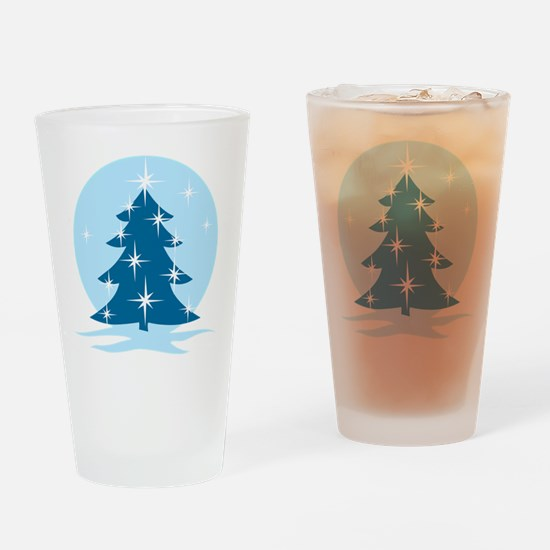 Blue Christmas Tree Drinking Glass