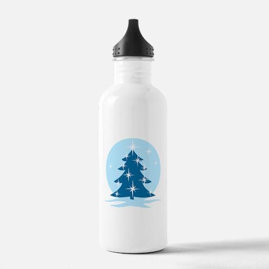 Blue Christmas Tree Water Bottle