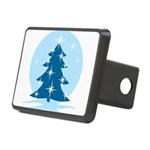 Blue Christmas Tree Rectangular Hitch Cover