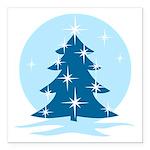 "Blue Christmas Tree Square Car Magnet 3"" x 3"""