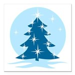 "Blue Christmas Tree Square Car Magnet 3"" x 3"""
