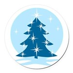 Blue Christmas Tree Round Car Magnet