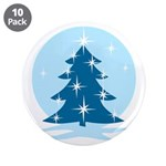 "Blue Christmas Tree 3.5"" Button (10 pack)"