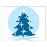 Blue Christmas Tree Small Poster