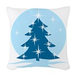 Blue Christmas Tree Woven Throw Pillow