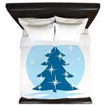 Blue Christmas Tree King Duvet
