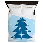 Blue Christmas Tree Queen Duvet