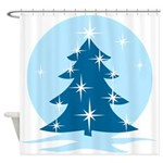 Blue Christmas Tree Shower Curtain