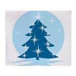 Blue Christmas Tree Throw Blanket