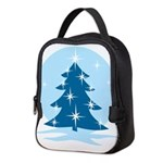 Blue Christmas Tree Neoprene Lunch Bag