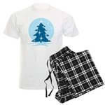Blue Christmas Tree Men's Light Pajamas