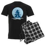 Blue Christmas Tree Men's Dark Pajamas