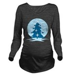 Blue Christmas Tree Long Sleeve Maternity T-Shirt