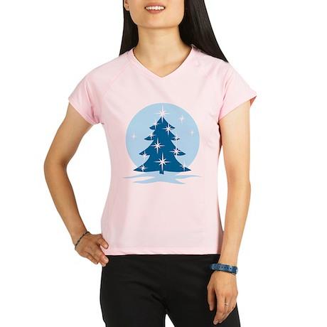 Blue Christmas Tree Performance Dry T-Shirt