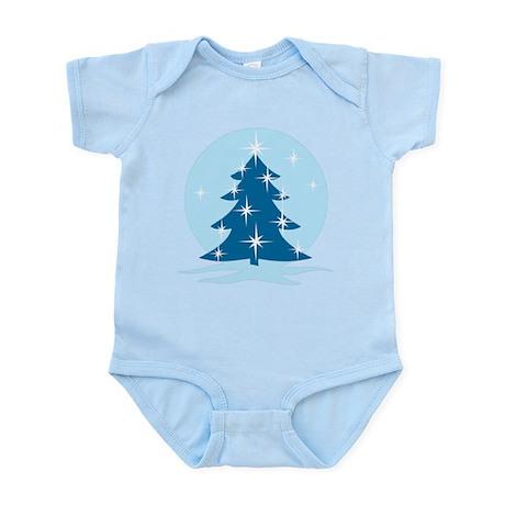Blue Christmas Tree Baby Light Bodysuit