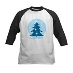 Blue Christmas Tree Kids Baseball Tee