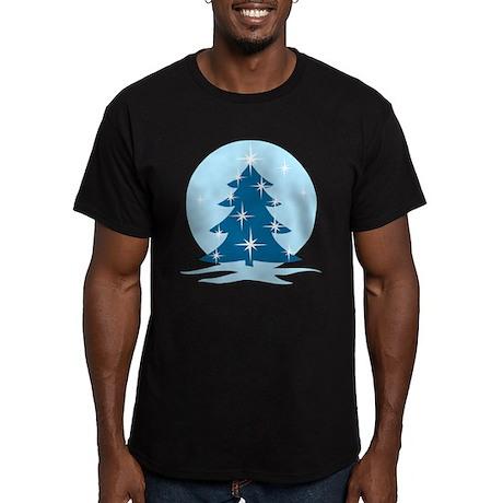 Blue Christmas Tree Men's Fitted T-Shirt (dark)