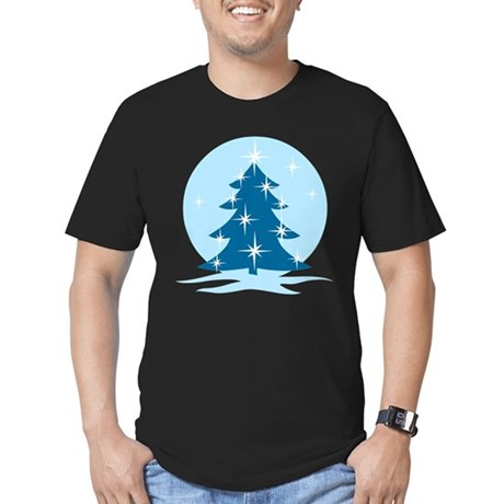 Blue Christmas Tree Men's Fitted T-Shirt (dark)