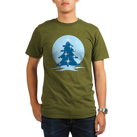 Blue Christmas Tree Organic Men's T-Shirt (dark)