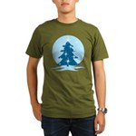 Blue Christmas Tree Organic Men's T-Shirt (dark)