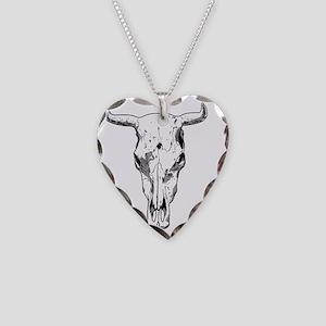 bull skull t-shirt Necklace Heart Charm
