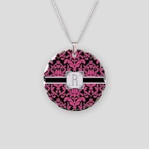 Letter R Monogram Floral Dam Necklace Circle Charm