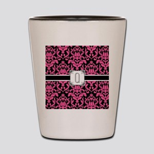 Letter Q Monogram Floral Damask Typogra Shot Glass