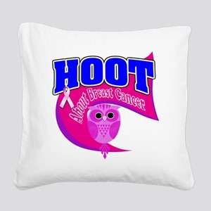 3-Hoot About Breast Cancer 3  Square Canvas Pillow