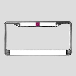 Hot pink and black damask License Plate Frame