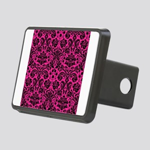 Hot pink and black damask Rectangular Hitch Cover