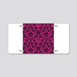 Hot pink and black damask Aluminum License Plate