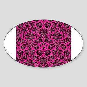 Hot pink and black damask Sticker