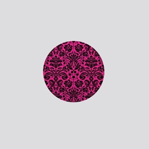 Hot pink and black damask Mini Button