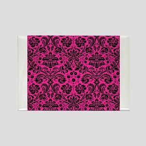 Hot pink and black damask Magnets