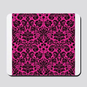Hot pink and black damask Mousepad