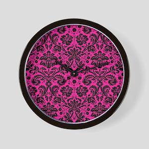 Hot pink and black damask Wall Clock