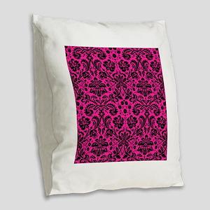 Hot pink and black damask Burlap Throw Pillow